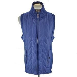 Jones New York quilted & ribbed vest L blue